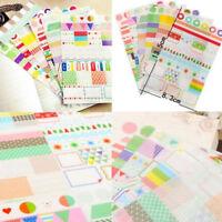 6 Sheets Paper Sticker DIY Photo Album Scrapbook Calendar Diary Planner Decor Jf