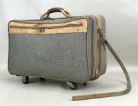 "Vintage Hartmann Tweed & Leather Belting Rolling Wheeled 21"" Carry-On Suitcase"