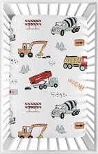 Sweet Jojo Grey Construction Truck Boy Fitted Mini Crib Sheet Baby Boy Nursery