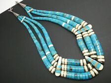 """Vintage Santo Domingo Inlay Turquoise Heishi Sterling Three Strand Necklace 17"""""""