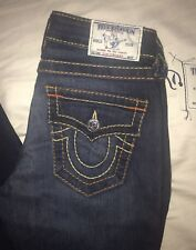"Womens True Religion Size 26 Slim Straight With Flaps Big T 34"" Inseam Jeans EUC"