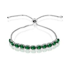 Oval-cut 6x4mm Simulated Emerald Adjustable Tennis Bracelet in Sterling Silver