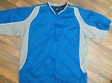 Mizuno Teamwear Mens medium S/S 1/4 Zip pullover Windbreaker Jacket blue EUC
