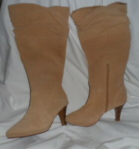 Hot In Hollywood Women's Tan/Camel Leather Suede Boots 8.5M - NWOT