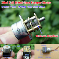 DC5V 6V 2-phase 4-wire Mini Full Metal Gear Stepper Motor 15mm Precision Gearbox