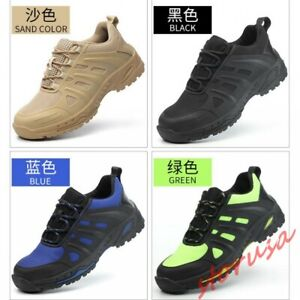 Men Breathable Safety Shoes Lace Up Casual Work Shoes Steel Toe Leisure Sneakers