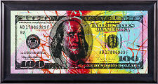 Steve Kaufman $100 Bill Original Painting Pop Street Art Large Rare Benjamin