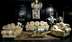 Exklusive Luxus Couchgarnitur klassisch gold Sofa-Set Sitzgarnitur Sitzmöbel