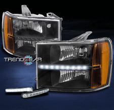 FOR 2007-2013 GMC SIERRA 1500 2500 HD DENALI BLACK LED HEADLIGHT W/DRL LED KIT