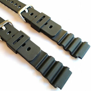 Watch Strap for 18mm CASIO Black Rubber Resin Replacement Band UK