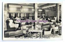 LS0459 - Cunard Liner - Queen Elizabeth , 1st Class Smoking Room - postcard