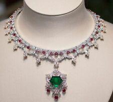 Pink Rubies, Emerald & White CZ 92.36TCW Vintage & Gorgeous Women's Necklace
