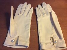Vintage 49% Stretch Satin White Ladies Gloves With Pearl Closer