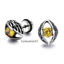 Stainless Steel Big Eye w/ Yellow Zircon Men's Women's Stud Earrings Screw Back