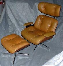 Selig Plycraft Eames Era Lounge Chair U0026 Ottoman, Caramel, 1984. Walnut,  Leather