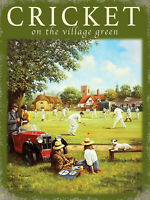 Old Fashioned Vintage Style Cricket Picture Metal Plaque Gift Idea For Grandad