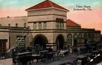 Union Depot Jacksonville Florida FL Street View Horse Buggy Cars 1910's Postcard