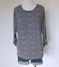 Batwing Women's Knit 3/4 Dolman Sleeve Striped Blouse Top Scoopneck T Shirt L