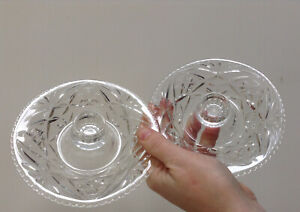 Pair Pretty Yet Durable Vintage Clear Pressed Glass Candle/Flower Holders Dishes