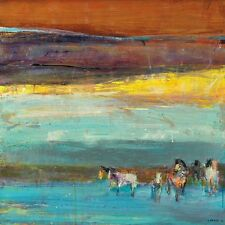 CLAIRE DE LUNE DOMINIQUE SAMYN STRETCHED ART CANVAS HORSES MODERN ABSTRACT ART