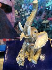 """Elephant """"Sitting """" Enameled Jewel Box & Matching Necklace #62626"""