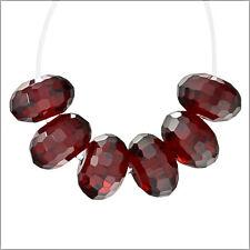 10 Cubic Zirconia Rondelle Roundel Beads 8mm Garnet Red #96065