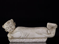 c1860 Chinese Carved Marble Pillow of a Child