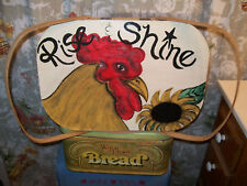 Rooster Picnic Basket Chicken Hand Painted Rise Shine Primitive Country