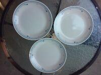 """Corelle Country Violets Sandstone Beige Blue Red Dot 10.25"""" Dinner Plate Set 3"""
