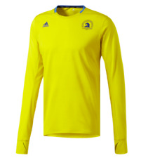 ADIDAS Womens Climalite Boston Marathon L/S Tee/Tshirt Size S Yellow/Blue $60