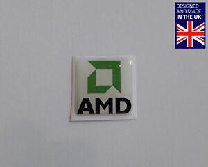 """30X AMD 25 x 25mm 1"""" Domed PC Case Badges Decals K6 Athlon XP 64 Duron Phenom"""