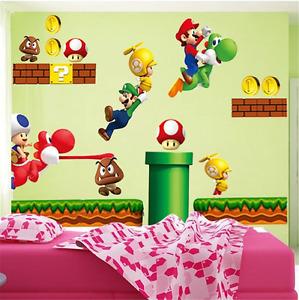 Super Mario DIY Removable PVC Wall Stickers Vinyl Decal Wallpaper Art Home UK V5