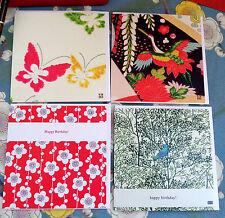 KO/P1 SET OF FOUR GREETINGS CARDS;KIMONO;QUALITY;ORIGINAL;TEXTILE ART;BIRTHDAY