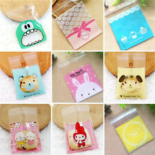 100 Pcs Self-adhesive Cute Small Biscuit Plastic Gift Food Packing Bag 7x7cm