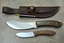 CUSTOM MADE SET OF 2 SURGICAL STEEL HUNTING KNIVES WITH WALNUT WOOD HANDLE(LTSK3
