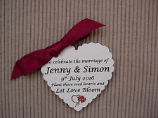 Personalised wedding favours, seed paper hearts that grow beautiful flowers