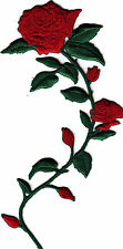 LONG STEM RED ROSE & BUDS (Right) - FLOWERS - Iron On Embroidered Applique