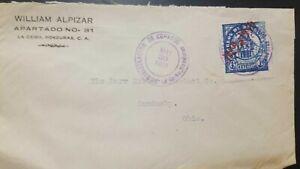 J) 1930 HONDURAS, PRESIDENTIAL HOUSE, AIRMAIL, CIRCULATED COVER, FROM HONDURAS T