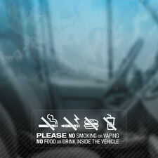 3x no fumar vapeo alimentos bebidas en aviso de Vehículo Coche, Furgoneta, taxi, ventana Stickers