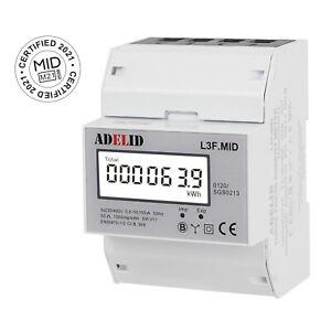 Drehstromzähler mit MID Zertifikat 2021 für DIN Hutschiene LCD 3-phasen 100A