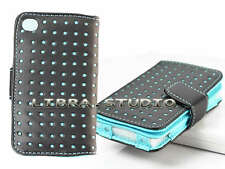 Blue Dot Leather Wallet Case Skin Cover Pouch For IPod Touch 4th 4 4Gen ma9r