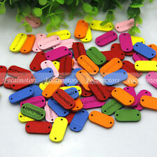 100pcs Wooden Handmade Tag Label Wood Buttons Sew Scrapbooking Craft DIY Supply