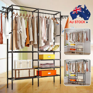 Clothes Rail Closet Storage Garment Rack Wardrobe Organiser Hanger Shelf + Hooks