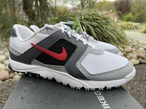 NEW Nike Golf Air Range WP 8 Medium White, Gray & Red Spikeless Golf Shoes