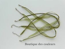 LOT DE 3 COLLIERS CORDONS RUBAN ORGANZA VERT KAKI CREATION BIJOUX