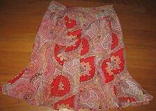 Worthington Women's Skirt Pleated Red Pink Orange Paisley A line Silk size 6 EUC
