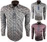 Herren Hemd mit Muster Drei Farben Blumen Freizeitshirt Party 97%Baumwolle M-3XL