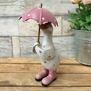 Pink Polka Dot Duck & Umbrella Home Sculpture Statue Decorative Ornament Small
