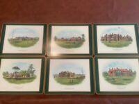 Vintage Pimpernel Famous British Golf Clubs Placemats Set of 6 Cork Back