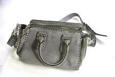 Rebecca Minkoff Midnighter Medium Satchel Handbag Purse Gray Genuine Leather